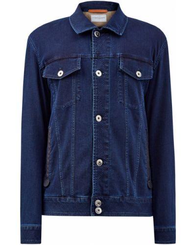 Синяя джинсовая куртка на пуговицах с декоративной отделкой с карманами Cortigiani