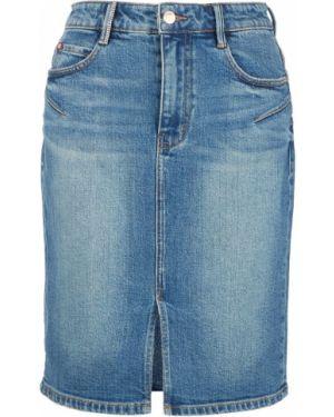 Джинсовая юбка синяя с вырезом Miss Sixty