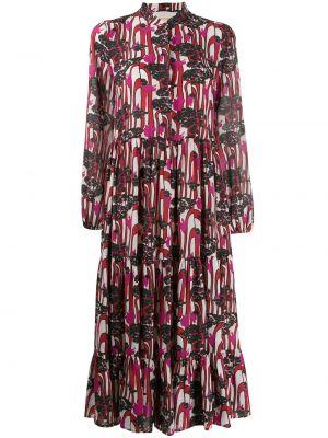 Розовое платье в стиле бохо с воротником эластичное La Doublej