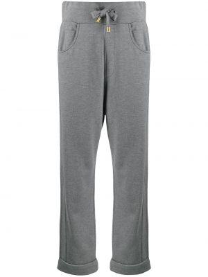 Серые спортивные брюки с карманами с отворотом Balmain