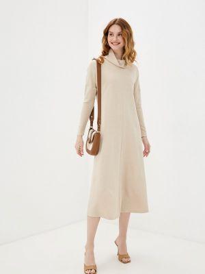 Бежевое платье-свитер синар