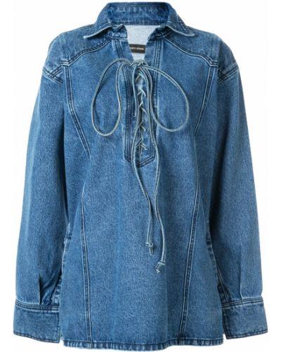 Синяя рубашка с воротником Pony Stone
