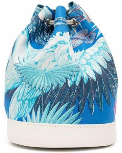 Синяя сумка на шнуровке Hermès
