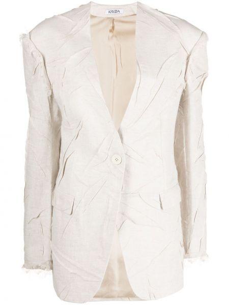 Шелковый однобортный удлиненный пиджак на пуговицах Krizia