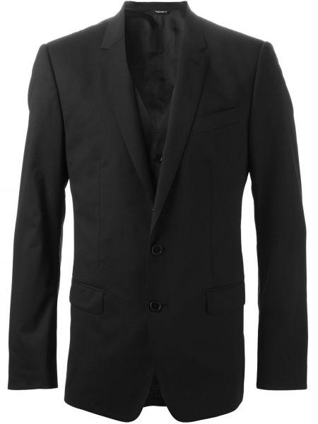 Czarny kostium garnitur trójka z dekoltem w szpic bez rękawów Dolce And Gabbana