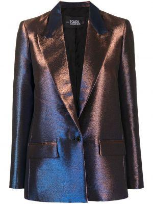 Niebieski blezer z kieszeniami z klapami z długimi rękawami Karl Lagerfeld