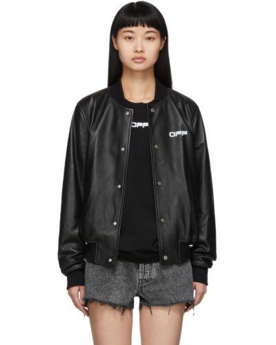 Кожаная куртка черная длинная Off-white