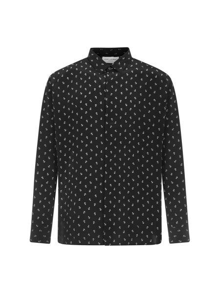 Czarna koszula na co dzień z jedwabiu Saint Laurent