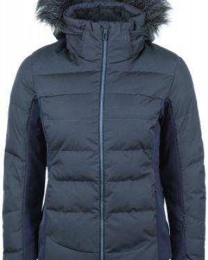 Теплая синяя куртка с капюшоном на молнии со вставками Salomon