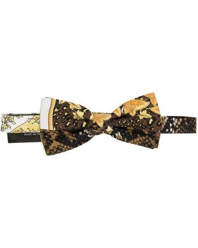 Коричневый шелковый галстук-бабочка с бабочкой на крючках Young Versace