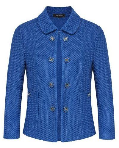 Шерстяной синий пиджак на пуговицах St. John