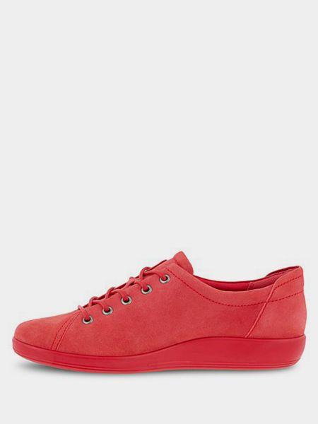 Мягкие текстильные красные низкие кеды Ecco
