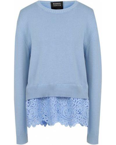 Голубой свитер с цветочным принтом Markus Lupfer