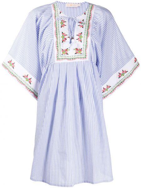 Платье с вышивкой в полоску Tory Burch