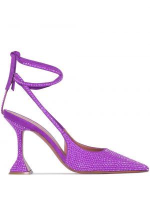 Фиолетовые кожаные туфли-лодочки с камнями Amina Muaddi