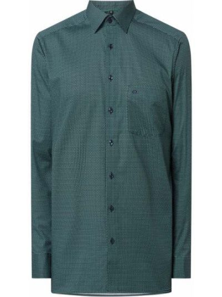 Zielona koszula bawełniana z długimi rękawami Olymp