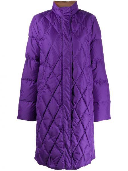 Фиолетовое стеганое пальто оверсайз с воротником на молнии Aspesi