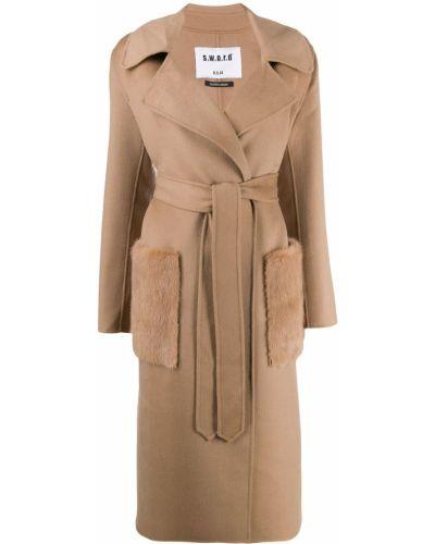 Шерстяное бежевое длинное пальто с поясом S.w.o.r.d 6.6.44