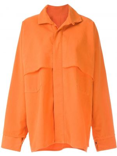 С рукавами оранжевое пальто с воротником с потайной застежкой Osklen