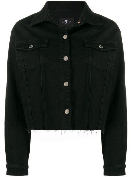 Черная джинсовая куртка с бахромой 7 For All Mankind