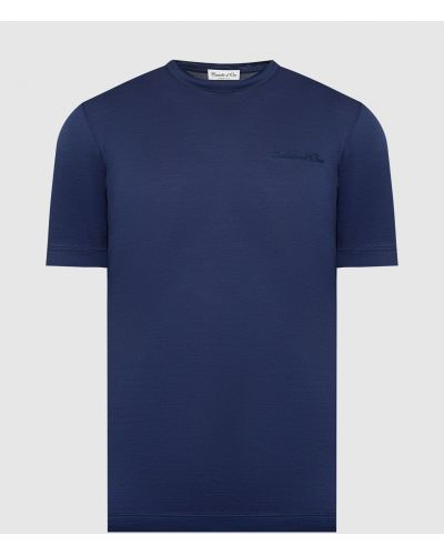 Футболка с вышивкой - синяя Castello D'oro