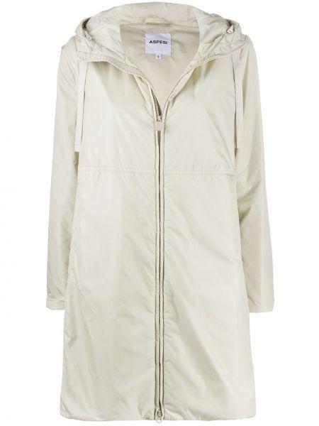 Длинное пальто с капюшоном на молнии айвори Aspesi