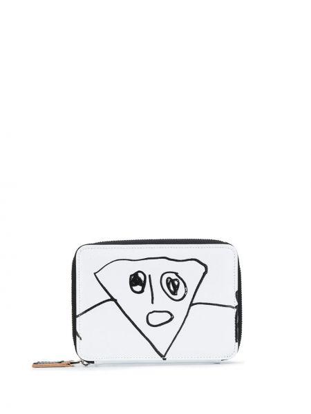 Кожаный белый кошелек прямоугольный на молнии Plan C