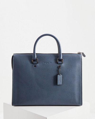 Синяя сумка с ручками из натуральной кожи Coach