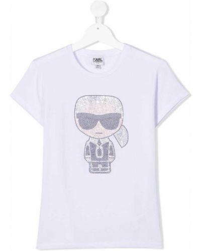 С рукавами хлопковая белая футболка с круглым вырезом Karl Lagerfeld Kids