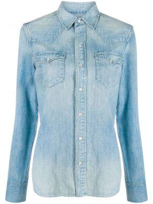 Niebieski koszula jeansowa z kołnierzem z kieszeniami z mankietami Polo Ralph Lauren