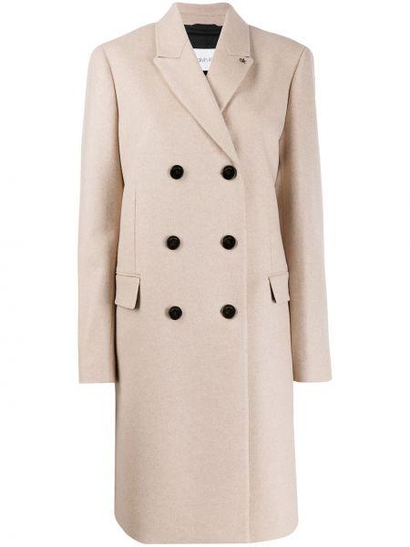 Шерстяное длинное пальто с капюшоном на пуговицах Calvin Klein