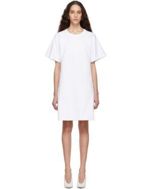 Махровое вязаное платье с воротником с короткими рукавами A_plan_application