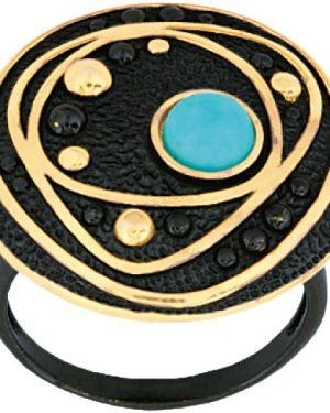 Кольцо черный из золота балтийское золото