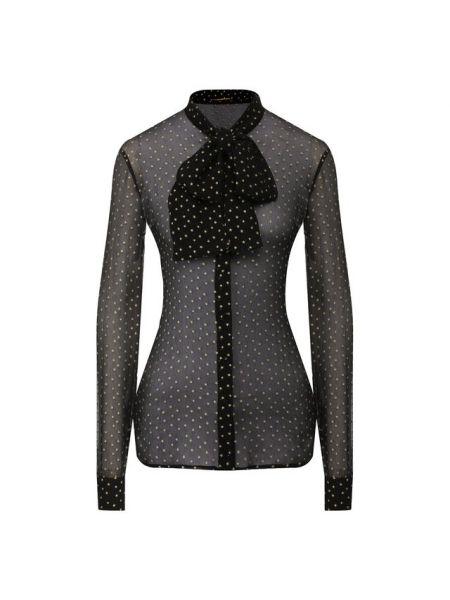 Приталенная блузка с бантом с воротником прозрачная Saint Laurent