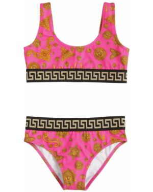 Różowy bikini z printem Versace