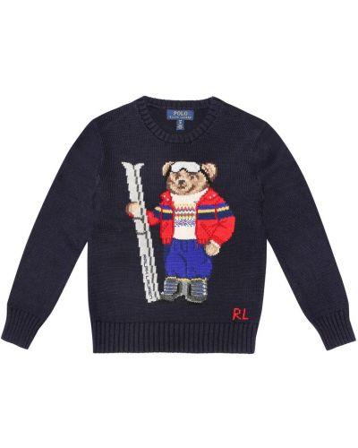 Свитер с медведем ажурный Polo Ralph Lauren Kids