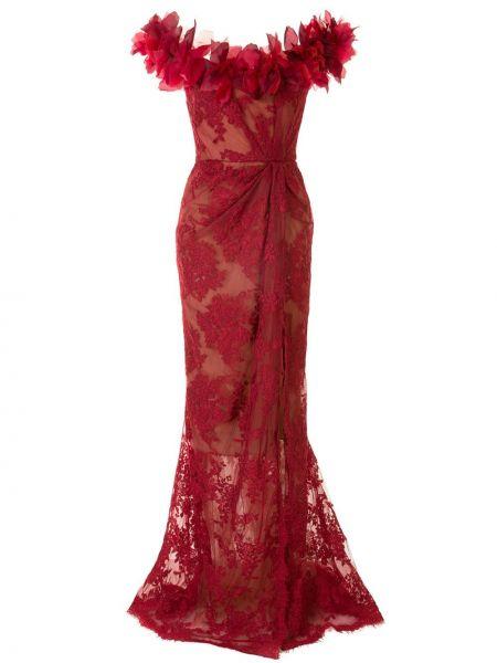С рукавами ажурное красное платье мини Marchesa