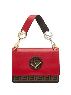 Skórzana torebka z logo złoto Fendi