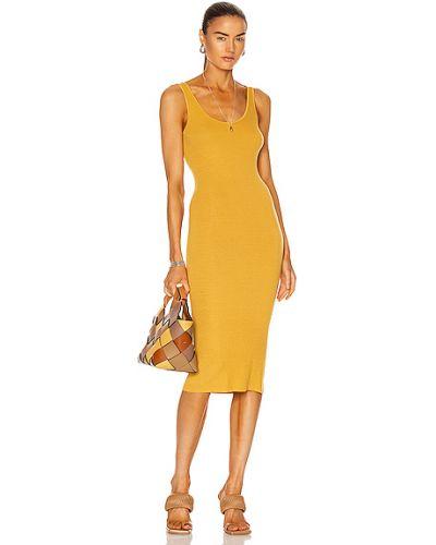 Желтое шелковое вязаное платье миди Enza Costa