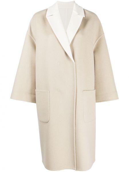 С рукавами кашемировое однобортное пальто с накладными карманами Brunello Cucinelli