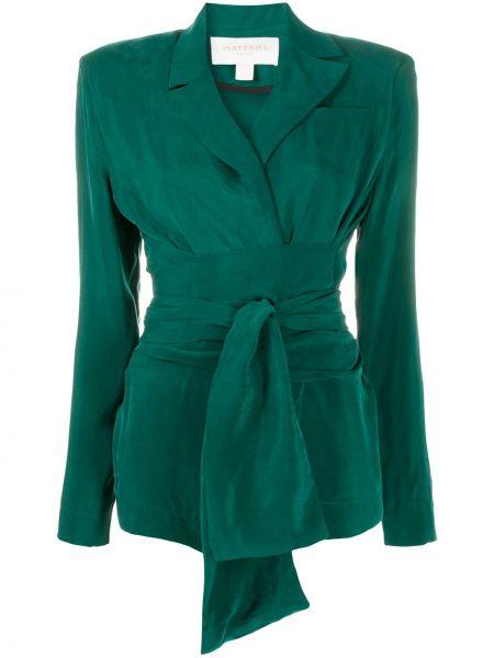 Зеленый удлиненный пиджак с воротником с завязками Matériel