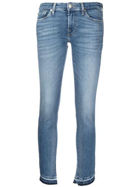 Синие укороченные джинсы с низкой посадкой на молнии 7 For All Mankind