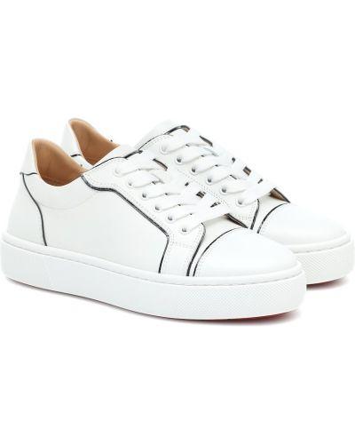 Biały skórzane sneakersy z prawdziwej skóry Christian Louboutin
