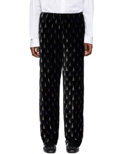 Пижамный бархатный черный брючный костюм Balenciaga