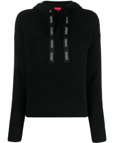 Черное худи с капюшоном на шнурках Boss Hugo Boss