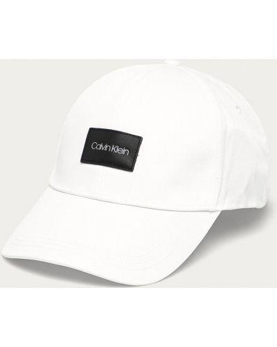 Biały kapelusz bawełniany Calvin Klein