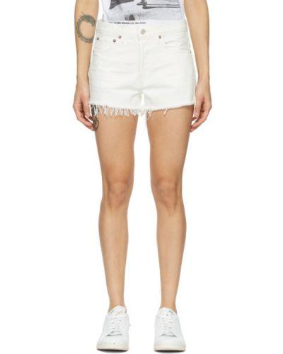 Włókienniczy niebieski dżinsowe szorty z paskiem Agolde