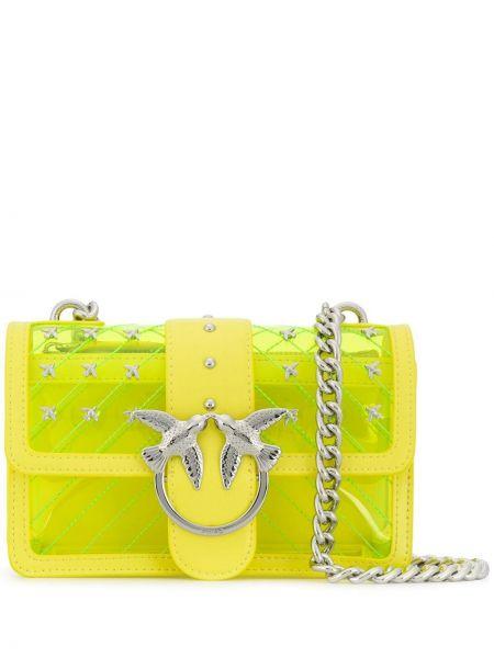 Кожаная желтая стеганая сумка на цепочке на молнии Pinko