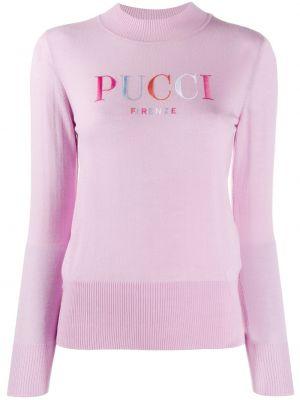 Розовый длинный свитер в рубчик с вышивкой Emilio Pucci