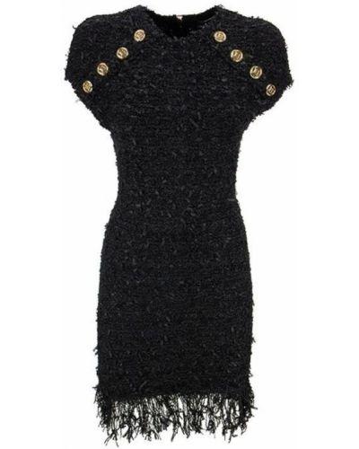 Czarna sukienka midi zapinane na guziki Balmain